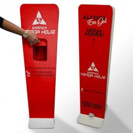 Totem para Álcool Gel Totem com dispenser álcool em gel + pedal acionável. MEDIDA 1,20X30X10 JA VAI COM O FRASCO